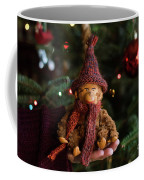 Silly Old Monkey Toy In A Child Hands Under The Christmas Tree Coffee Mug