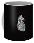 Silver Human Heart On Black Canvas Coffee Mug