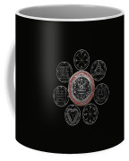 Silver Seal Of Solomon Over Seven Pentacles Of Saturn On Black Canvas  Coffee Mug