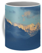 Snow Capped Dolomite Mountains In The Countryside Of Italy  Coffee Mug