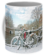 snowy Amsterdam in the Netherlands Coffee Mug