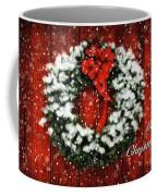 Snowy Christmas Wreath Card Coffee Mug
