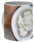 Solid Coconut Oil In Halved Coconut Coffee Mug