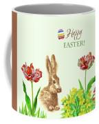 Spring Rabbit And Flowers Coffee Mug