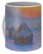 Stacks Of Wheat, Sunset, Snow Effect Coffee Mug