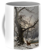 Stag In A Snow Covered Wooded Landscape Coffee Mug