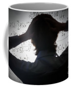 Student Holding His Head Looking At Complex Math Formulas On Whiteboard Coffee Mug