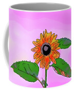 Illustration Of A Sunflower On A Pink Background Coffee Mug