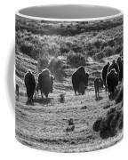 Sunset Bison Stroll Black And White Coffee Mug