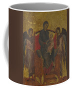 The Virgin And Child Enthroned With Two Angels Coffee Mug
