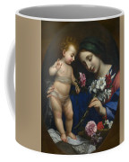 The Virgin And Child With Flowers Coffee Mug