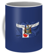 Toronto - Coat Of Arms Over City Of Toronto Flag  Coffee Mug