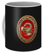 Treasure Trove - Sacred Golden Scorpion On Black Coffee Mug