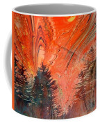 Trees On Red Marbled Paper Coffee Mug