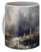View Of The Lighthouse At Gatteville Coffee Mug by Jean Louis Petit