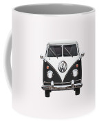 Volkswagen Type 2 - Black And White Volkswagen T 1 Samba Bus On Red  Coffee Mug