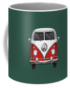 Volkswagen Type 2 - Red And White Volkswagen T 1 Samba Bus Over Green Canvas  Coffee Mug