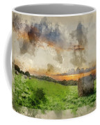 Watercolor Painting Of Beautiful Summer Vibrant Sunset Over Coun Coffee Mug