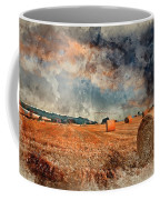 Watercolour Painting Of Beautiful Golden Hour Hay Bales Sunset L Coffee Mug