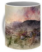 Watercolour Painting Of Stunning Summer Dawn Over Mountain Range Coffee Mug