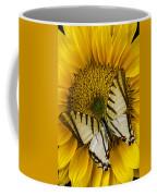 White Butterfly On Sunflower Coffee Mug