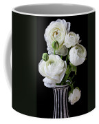 White Ranunculus In Black And White Vase Coffee Mug
