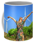 Wind Turbines Woman Coffee Mug