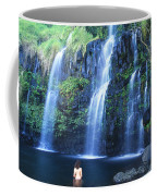 Woman At Waterfall Coffee Mug