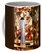 Woman In Front Of A Large Illuminated Window Coffee Mug