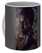 Woman In Splattered Golden Facial Paint Coffee Mug
