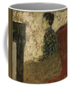 Woman Sitting By The Fireside Coffee Mug