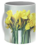 Yellow Narcissuses Bouquet In A Glass Vase Coffee Mug