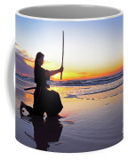 Young Samurai Women With Japanese Katana Sword At Sunset On The Beach Coffee Mug