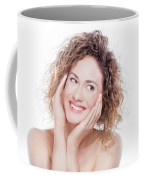 Young Smiling Woman With Curly Hair Portrait On White Coffee Mug