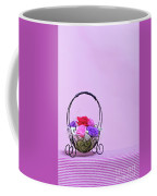 A Gift Of Preservrd Flower And Clay Flower Arrangement, Colorful Coffee Mug
