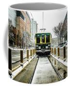 Streetcar Waiting For Passengers In Snowstrom In Uptown Charlott Coffee Mug