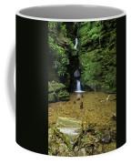 Beautiful Flowing Waterfall With Magical Fairytale Feel In Lush  Coffee Mug