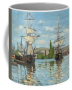 Ships Riding On The Seine At Rouen Coffee Mug