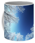 Amazing Landscape With Frozen Snow Covered Trees At Sunrise   Coffee Mug