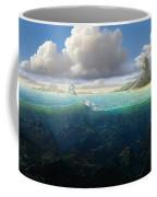 128098 Artwork Sea Fish Clouds Rock Formation Split View Coffee Mug
