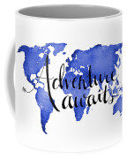 12x16 Adventure Awaits Blue Map Art Coffee Mug