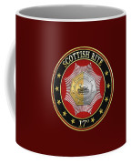17th Degree - Knight Of The East And West Jewel On Red Leather Coffee Mug