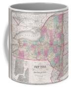1858 Smith - Disturnell Pocket Map Of New York Coffee Mug