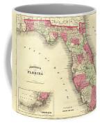 1864 Florida Map Color Coffee Mug
