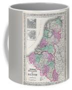1866 Johnson Map Of Holland And Belgium Coffee Mug
