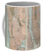 1899 Home Life Map Of New York City  Manhattan And The Bronx  Coffee Mug