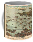 1899 View Map Of Boston Harbor From Boston To Cape Cod And Provincetown  Coffee Mug