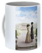 18th Century Georgian  Couple Looking Towards A Country Estate Coffee Mug