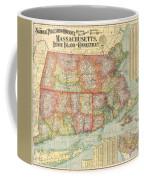 1900 National Publishing Railroad Map Of Connecticut Massachusetts And Rhode Island  Coffee Mug