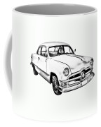 1950  Ford Custom Antique Car Illustration Coffee Mug